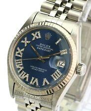 Rolex Mens Datejust 16014 SS Blue Roman Diamond Dial Fluted Bezel 36mm Watch