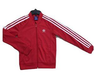 Boys Adidas Training  Jacket Red And White Size 7