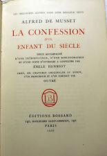 DE MUSSET/CONFESSION D UN ENFANT DU SIECLE/ED BOSSARD/1926/FRONTISPICE PAR OUVRE