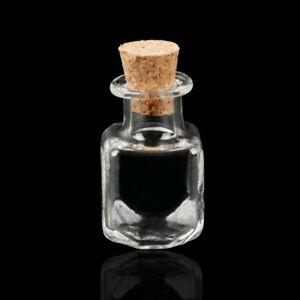 10x Mini Empty Glass Bottles Wishing Bottles Pendant Vials Jars + Cork Stopper