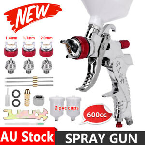 HVLP Air Spray Gun Kit 3Nozzles Paint Touch Up Gravity Feed Low Pressure Sprayer