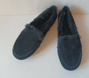 Vionic Corinne Cozy Moccasin Slippers Black Women's Size 8 NEW