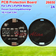 2A BMS Protection PCB Circuit Board for 3.2V 26650 LiFe LiFePo4 Battery Cell 1S