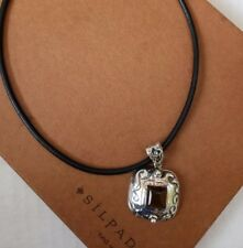 Silpada Sterling Silver Amber Square Pendant and a black silpada leather cord