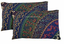 2 PC Indian Mandala Pillow Shams Cotton Cushion Cover Boho Bed Decor Handmade