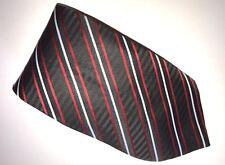 Negro Tejida a Mano 100% Puro Corbata De Seda con rayas rojo y blanco Diagonal