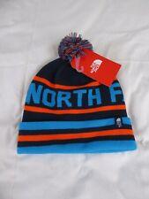 North Face Unisex Azul, naranja y la luz azul Gorro Con Pompón-Bnwt