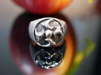 Massiver 925 Silber Ring Siegelring Shuriken Mystisch Modern Schwer Unisex Stark