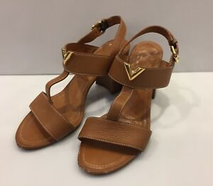 Women's Louis Vuitton Sandals Platform Shoes Flat LV Logo Brown Size 39