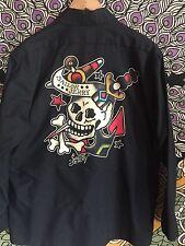 Sailor Jerry Skull Logo Tattoo Mens Black Shirt size L  Work Red Cap Button Up