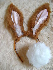 Hare Rabbit Bunny Ears Brown/Tan And White Bob Tail Instant Fancy Dress Unique