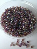 50g glass seed beads - Purple Metallic Rainbow - approx 3mm (size 8/0)