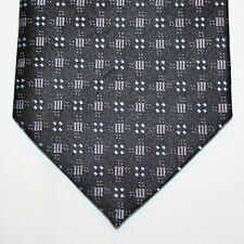 NEW Calvin Klein Silk Neck Tie Black with Silver and Light Blue Pattern 904