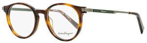 Salvatore Ferragamo Round Eyeglasses SF2802 214 Havana/Gunmetal/Green 50mm 2802