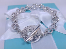 Tiffany & Co Small Round Circle Charm Toggle Chain Bracelet Sterling Silver 925