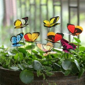 50pcs Colorful Garden Butterflies Stakes Patio Home Ornaments On Sticks Lawn