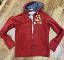 Mens Abercrombie & Fitch Muscle Fit Full Zip Hooded Sweatshirt - Large Red Hoody