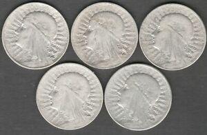 Poland 5 Zlotych 1932 Queen Judwiga , 5 High Grade Silver coins ,    coin (0321)