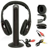 New Wireless Headphones Headset Cordless RF with Mic for CD MP3 MP4 PC TV DVD
