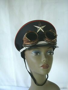 Black Steampunk Captain Hat w/ Goggles Halloween Military Men Party Cap star