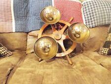 """Rare Vtg 21"""" Nautical Ships Wheel Ceiling (3) Light Chandelier Lamp Fixture"""