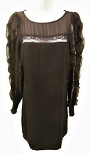 BLACK CREPE DRESS WITH LONG RUFFLED MESH SLEEVES,WAREHOUSE SIZE UK 8, LD430