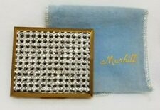 Vintage MARHILL Fifth Ave Rhinestone Jeweled Brass Powder Compact w/Puff/Pouch