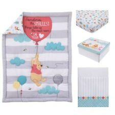 Crib Bedding Set 4 Piece Baby Infant Disney Pooh Comforter Fitted Sheet Box Gray