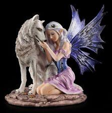 Elfen Figur - Tandra mit Wolf - Fee Statue Fantasy Deko