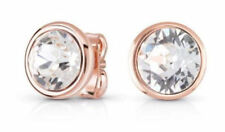 Rose Gold Plated Clear White Made With Swarovski Crystal Elements Stud Earrings