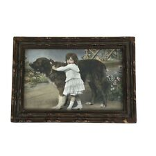 Young Girl with Large Dog Hand Tinted Photo in Frame Pre- 1940's Adorable