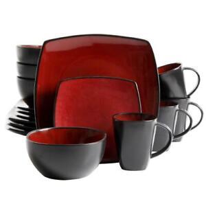 16-Piece DINNERWARE SET Plates Bowls Mugs Dishes Stoneware Square Dinner Kitchen