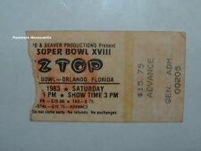 Zz Top 1983 Concert Ticket Orlando Fl Triumph Tangerine Bowl Foghat Sammy Hagar