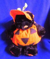 Build-A-Bear Black Teddy Bear w/ Pumpkin Jack O Lantern Halloween costume