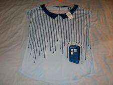 Dr Who Stripes Drip Top Police Public Call Box Blue Hot Topic Shirt Womens Large