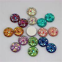 10mm AB Crystal Round Acrylic Rhinestones Flat Back Beads Gem Craft DIY ZZ-40