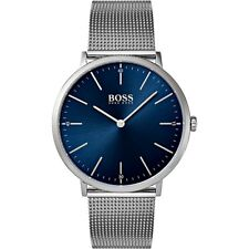 Original Hugo Boss HB 1513541 Horizon Herrenuhr Meshband Farbe:Silber/Blau NEU!