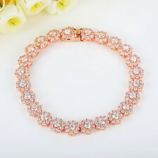 Voroco Rose Gold Silver Plated Bracelet AAA Zircon Girl Jewelry Chain 7.4 Inches
