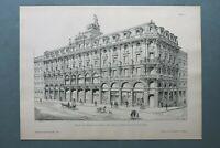 AR85) Architektur Frankfurt Main 1885 Schillerplatz Geschäfte Holzstich 28x39cm