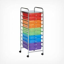 15 Drawer Portable Storage Utility White Trolley Unit Chest With Pull Out Draw