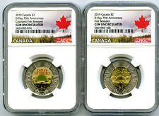 2019 $2 CANADA NGC GEM UNC TOONIE 75TH D-DAY TWO DOLLAR 2-COIN SET FIRST RELEASE