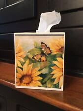 Sunflower , Butterfly, Dragonfly Tissue Box Cover On Beige Tissue Box Cover
