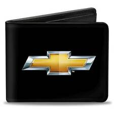Men Wallet Bifold Chevrolet Impala Camaro Silverado Black Gold Logo Genuine
