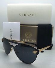 New VERSACE Sunglasses VE 2161 1002/87 Shield Gold & Black Frames w/ Grey Lenses