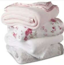 SIMPLY SHABBY CHIC BABY PINK SATIN TRIM ORIGINAL 2 PLY THICK PLUSH TWIN BLANKET