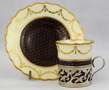 Aynsley Demitasse Fine Porcelain Cup & Saucer & Sterling Silver Holder 1913