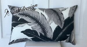 Tommy Bahama Indoor/Outdoor Lumbar Black/Grey/White - Palm Leaves Cushion Cover
