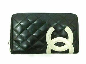 Authentic CHANEL Cambon Line Zip Around Long Wallet Leather Black 87140