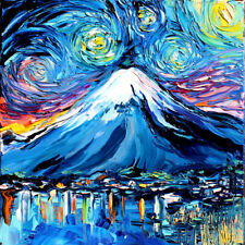 Mount Fuji Starry Night Art Print van Gogh Mountain Landscape Wall Decor By Aja