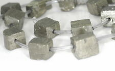 10-12MM PYRITE GEMSTONE ROUGH CUBE LOOSE BEADS 7""